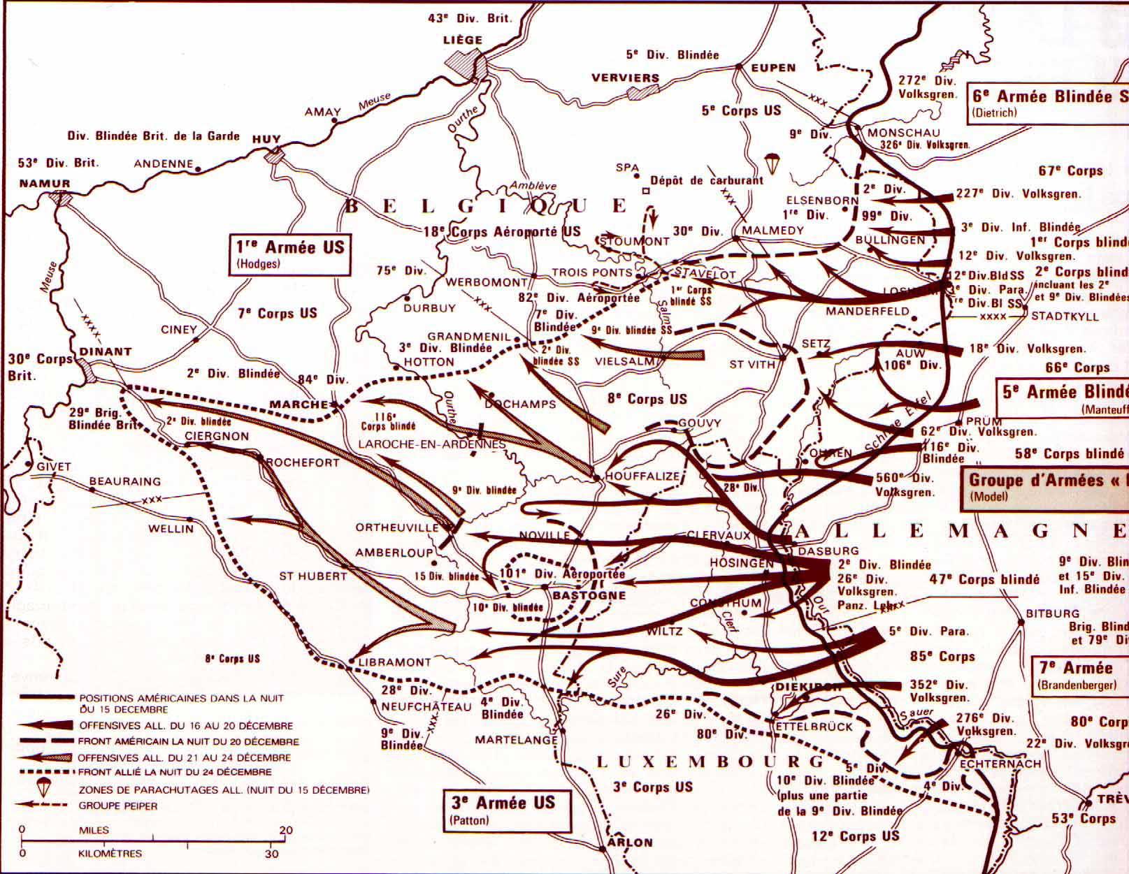 Carte Militaire Allemande Ww2.La Bataille Des Ardennes 16 Decembre 1944 18 Janvier 1945