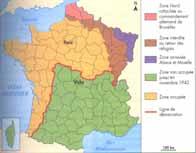 Carte de la France occupée après l'armistice