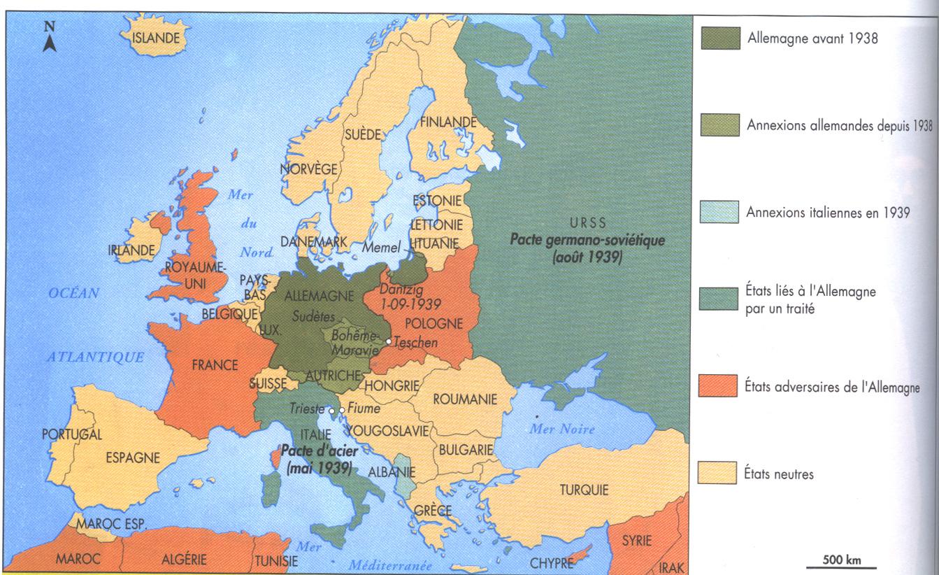 carte europe tchecoslovaquie