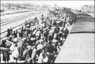 Arrivée d'un train de déportés Hongrois, le 26 mai 1944 sur la rampe d'Auschwitz-Birkenau