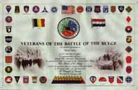 Certificat de vétéran de la Bataille des Ardennes